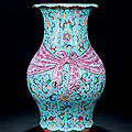 A turquoise-ground famille-rose trompe l'oeil 'lotus and bat' vase, qianlong period, 1736-1795