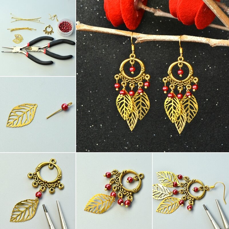 1080-How-to-Make-Tibetan-Style-Chandelier-Leaf-Dangle-Earrings-with-Red-Pearl-Beads