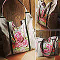 Sac cabas chic retro fleur roses lin velours création artisanal made in France CrApule FActOry