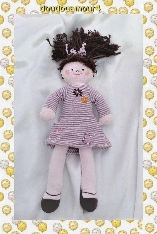 Poupée Doudou Chiffon Robe Rayures Cheveux Violet Fleur Petit Bateau