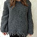 Pull gris en phil flocon