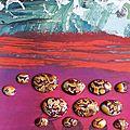 Cabochons présentés sur un dessin de Donna Estabrooks