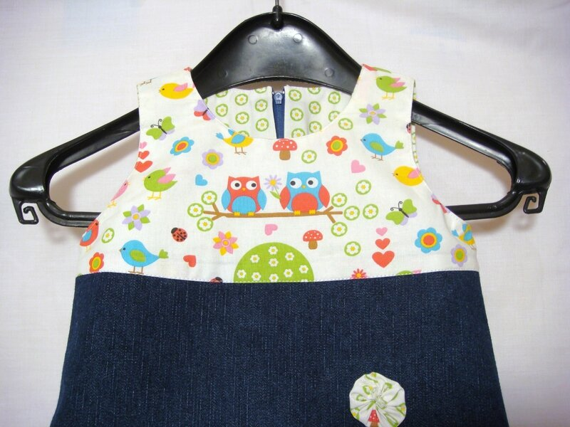 Robe 12-18 mois jeans et chouettes zoom