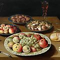 Osias beert the elder, still life on a plain wooden table