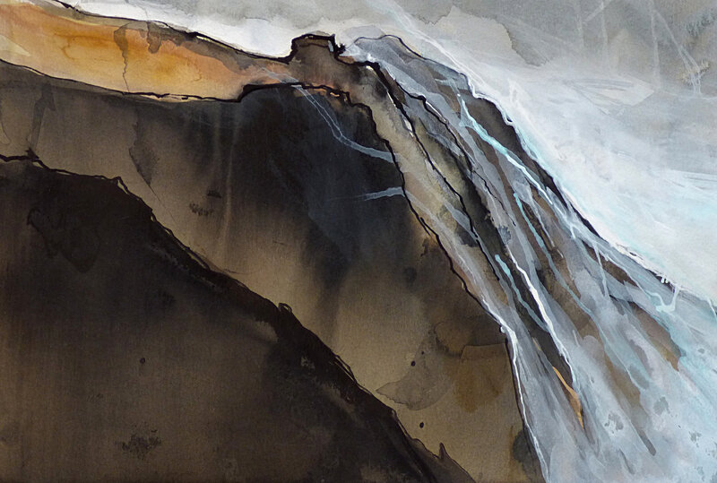 ma chair est une vague qui se brise sur les rochers, mars 2017, encre sur papier, 40 x 29 cm