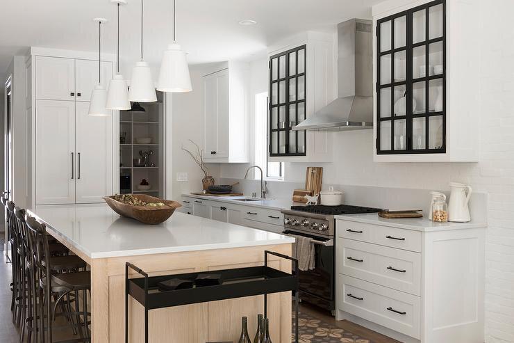 black-frame-glass-doors-on-white-kitchen-cabinets