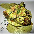 Steak de thon marinade teriyaki, à la crème coco épices indiennes