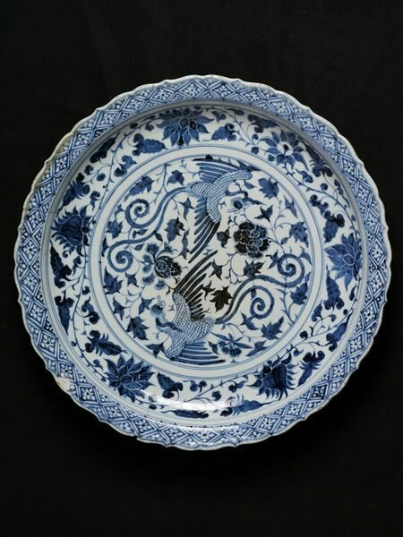 Dish, porcelain painted in underglaze blue with phoenixes and flowers, China, Yuan dynasty, mid 14th century