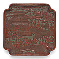 A carved cinnabar lacquer square tray, ming dynasty, 16th century