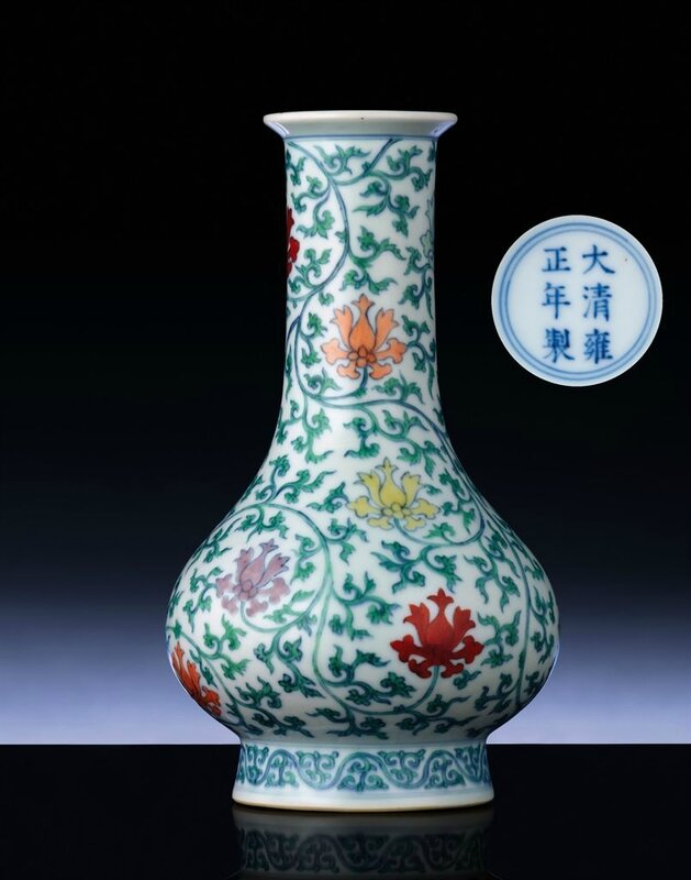 An extremely rare Ming-style doucai vase, Yongzheng six-character mark within double-circles and of the period (1723-1735)