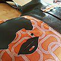 Sac de createur vintage disco original motifs orange marron artisanal www.crapule-factory.com