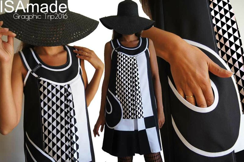 MOD 402A Robe bicolore noire et blanc Chic motif triangle Graphique made in France Chic Originale grande taille