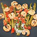 Asperges vertes, grosses crevettes (gambas) sauce vierge à l'ail des ours