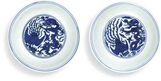 A pair of blue and white 'dragon and phoenix' dishes, marks and period of Jiajing (1522-1566)