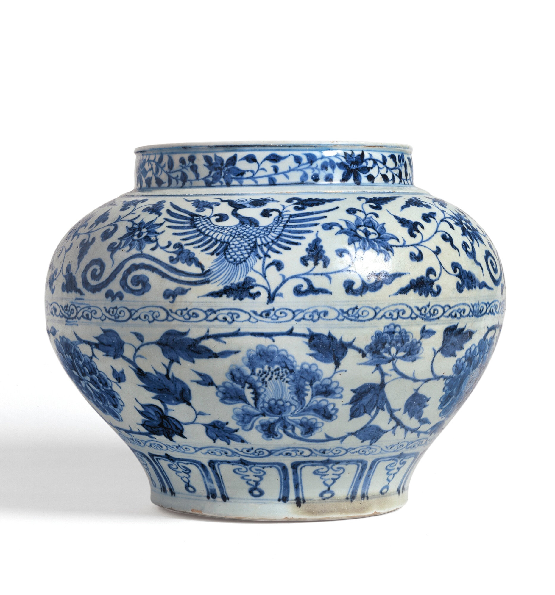 A rare blue and white 'Phoenix and Poeny' jar, Guan, Yuan dynasty, 14th Century