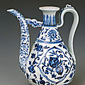 Wine ewer decorated with flowers and fruits, ming dynasty, yongle period, 1403 - 1425