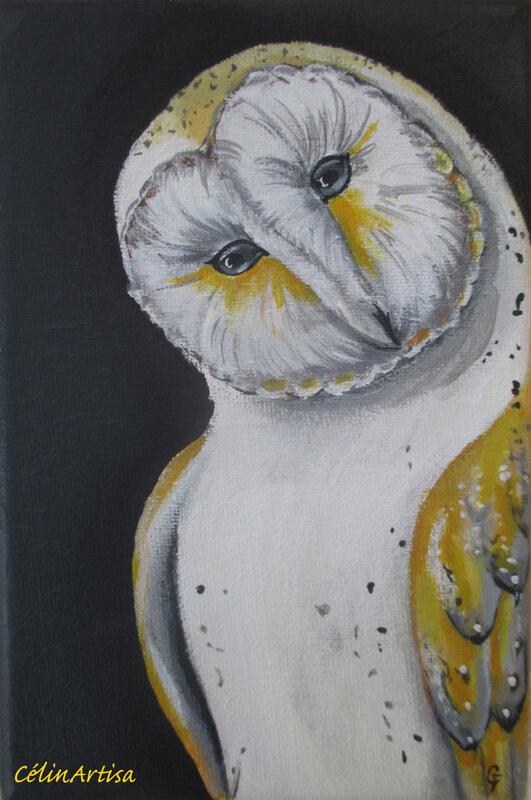 """""""chouette effraie"""" - acrylique sur toile"""