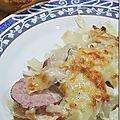 Chou blanc gratiné, saucisse de morteau et comté