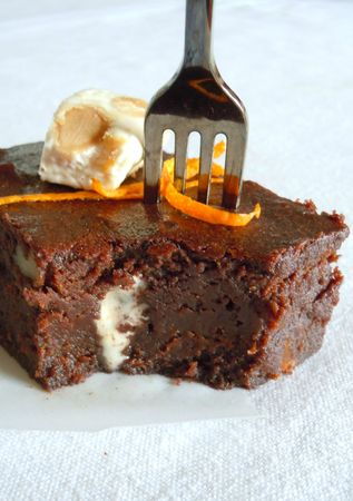 brownie orange nougat noix pécan