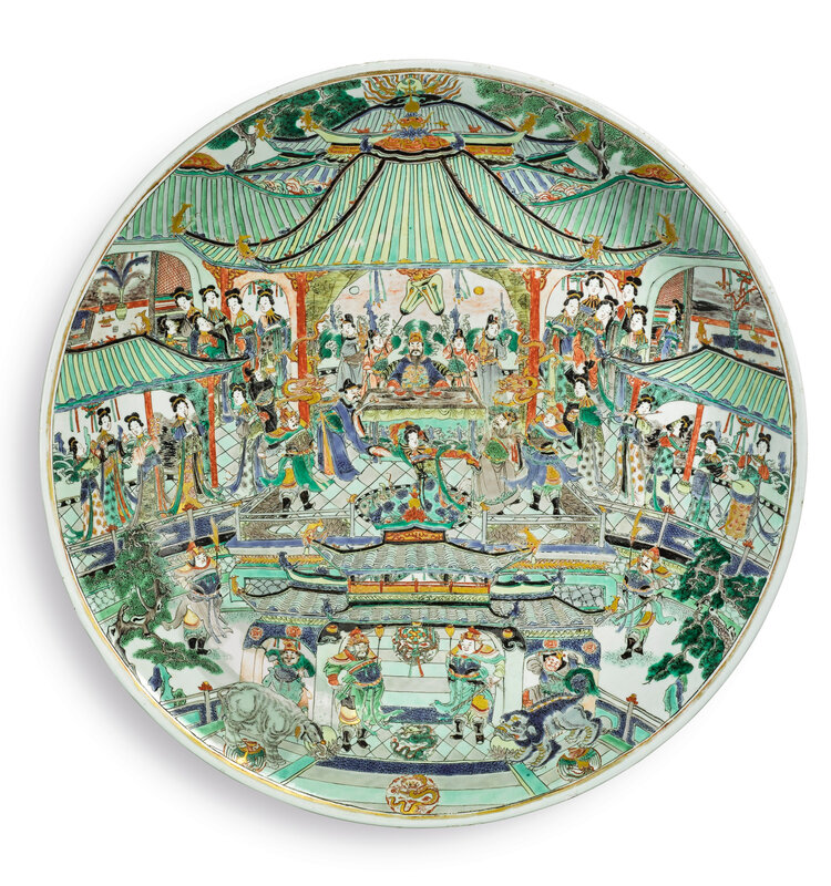 A massive, rare and impressive famille-verte 'banquet' dish, Qing Dynasty, Kangxi Period (1662-1722)