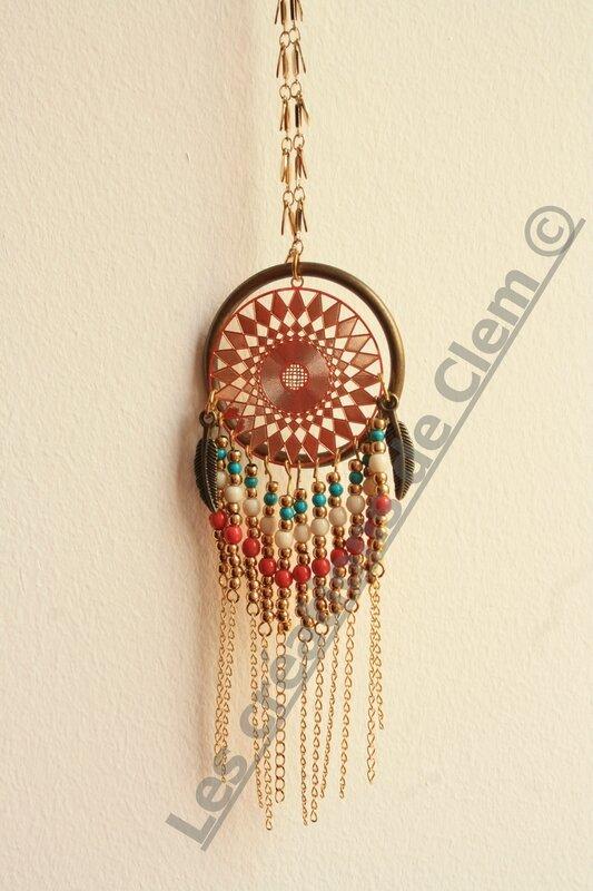 sautoir collier azteque indian - attrape reve - plume - perles - laiton - dreamcatcher- necklace (2)
