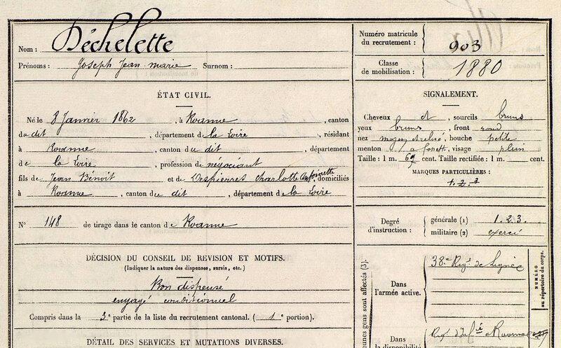 Joseph Déchelette, fiche matricule (1)