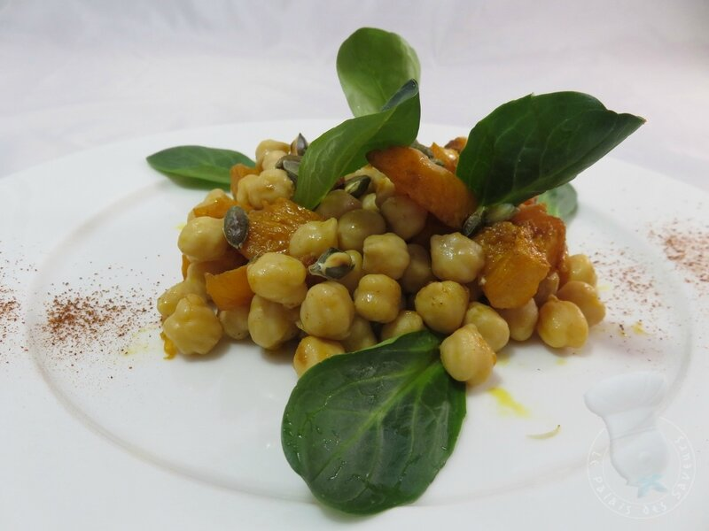 Salade rôtie courge pois chiches