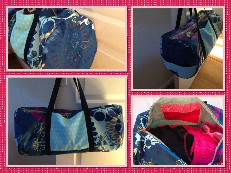Mosaique sac polochon bleu