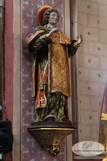 IBOS_la_collegiale_Saint_Laurent_statue_polychrome_de_Saint_Laurent_XVIIIe_siecle