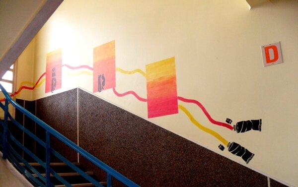 Collège Chaumié, Agen, animation de murs...