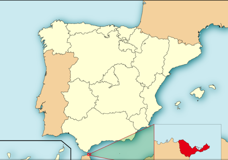 Map of Spain with the Autonomous Community of Ceuta highlighted
