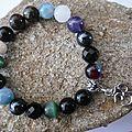 Bracelet d'inspiration tibétaine, multiperles, lettre sanscrit aum, unisexe