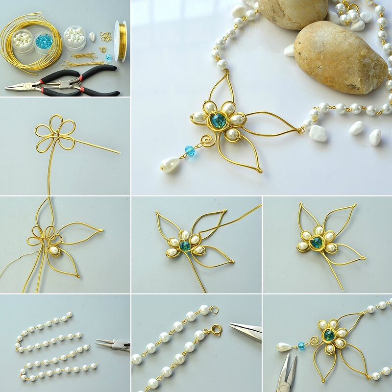 How to Make Wire Wrapped Pearl Beads Pendant Necklace1080-8