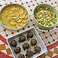 boulettes de kebbé, panisses, salade de chou chinois