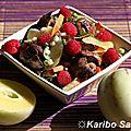 Salade gourmande aux foies de volaille, pépino et framboises