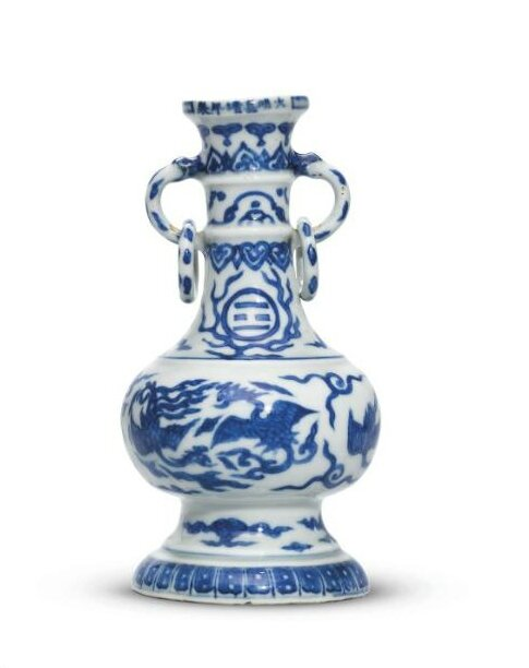 A rare blue and white 'phoenix and cranes' vase, Jiajing six-character mark in underglazed blue in a line and of the period (1522-1566)