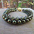 Bracelet flat spiral, vert olivine