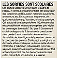 Suppressions des sorties scolaires