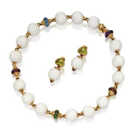 18_Karat_Gold__White_Porcelain_and_Colored_Stone__Chandra__Necklace_and_Earclips__Bulgari__Circa_1995