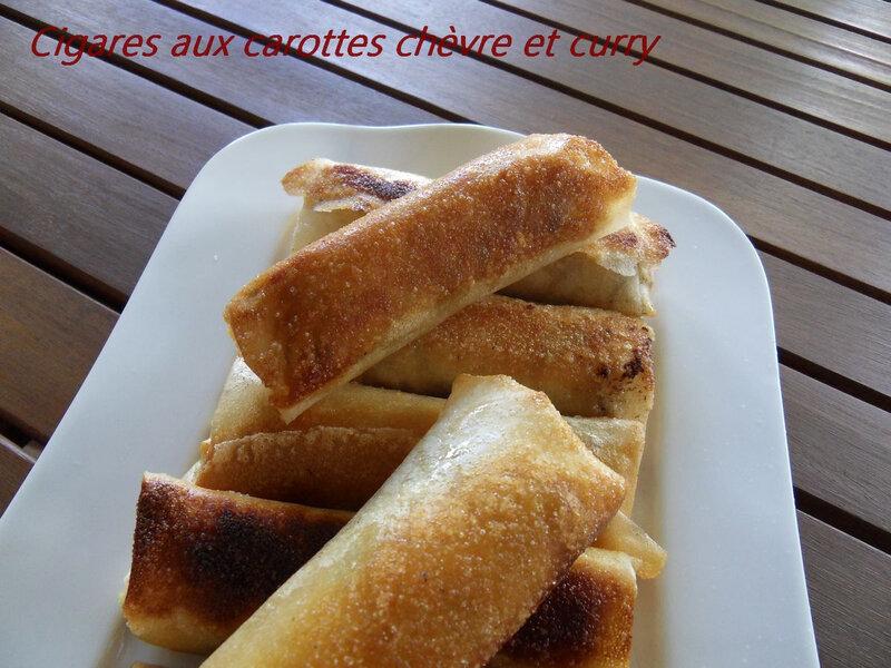 cigares aux carotte chèvre et curry