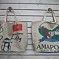Sac de plage familial réalisé avec des sacs à café provenant du vietnam ou du costa rica - modèles rares - réversibles upcycling