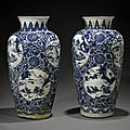 Two massive blue and white ovoid jars, Kangxi. Estimate US$ 100,000 - 200,000 (€74,000 - 150,000). Photo Bonhams.