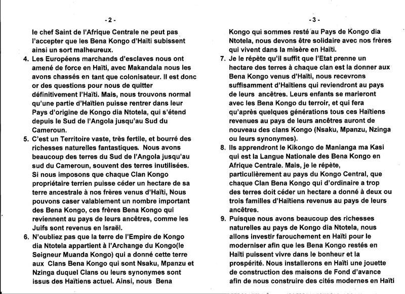 LE GRAND MAITRE MUANDA NSEMI ENVISAGE LE RETOUR D'UNE PARTIE DES HAITIENS A L'EMPIRE KONGO DIA NTOTELA EN AFRIQUE CENTRALE b