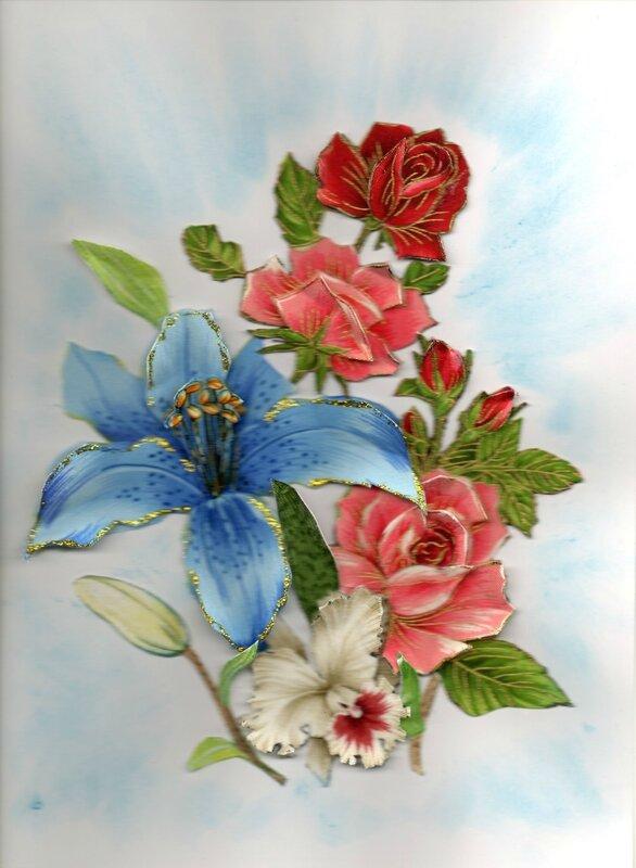 lys bleu, rose et orchidée098
