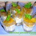 Mini verrines poisson au citron vert et mini verrines tomato-banane sauce chocolat
