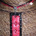 Collier Fimo noir et rouge plaques NAT S (N)