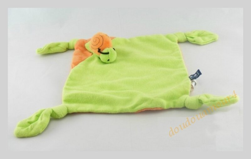 Doudou Plat Carré Vert Et Orange Escargot 4 Noeuds Scratch
