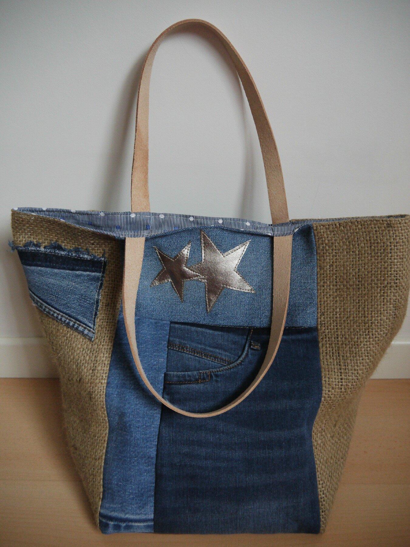 tout neuf 7ca79 a651a UPCYCLING - sac cabas en toile de jeans et toile de jute de ...