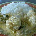 Curry de lotte au lait de coco et poivrons