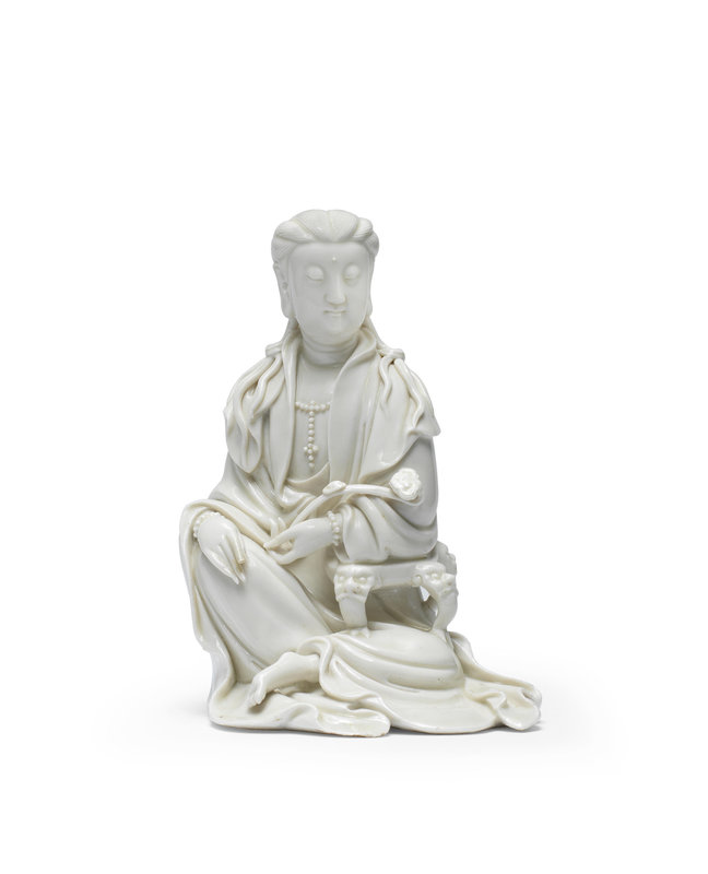 A blanc de Chine seated figure of Guanyin